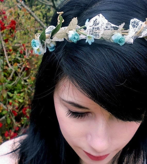 2013 Wedding Trends headpiece Shabby Chic Flower crown Vintage Lace Hairpiece aqua Headwreath teal flower girl halo Bridal hair flower