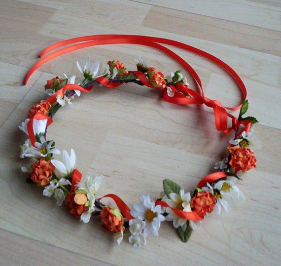 Orange Flower Crown Bridal Headpiece Tangerine summer Wedding Accessories -Paula- Daisy hair wreath flower girl halo fall autumn circlet