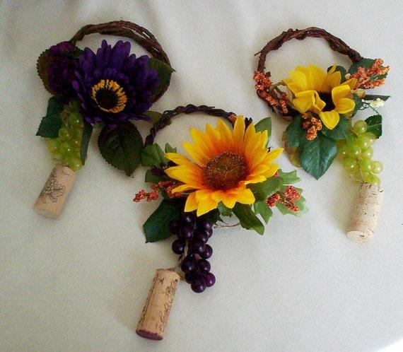 Sunflower wine bottle toppers yellow orange purple wedding