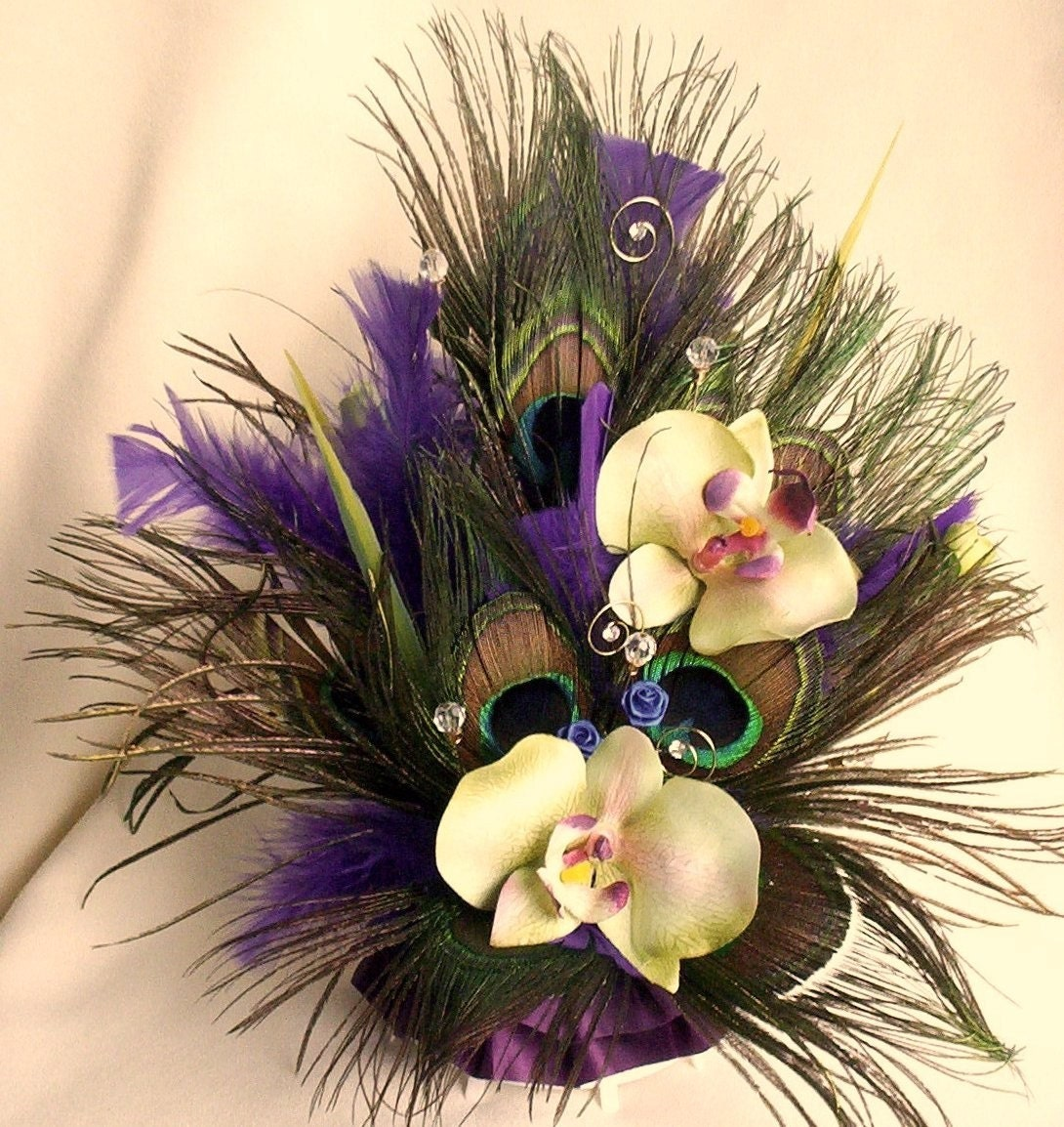 Weddings Peacock Cake Topper Purple Orchids