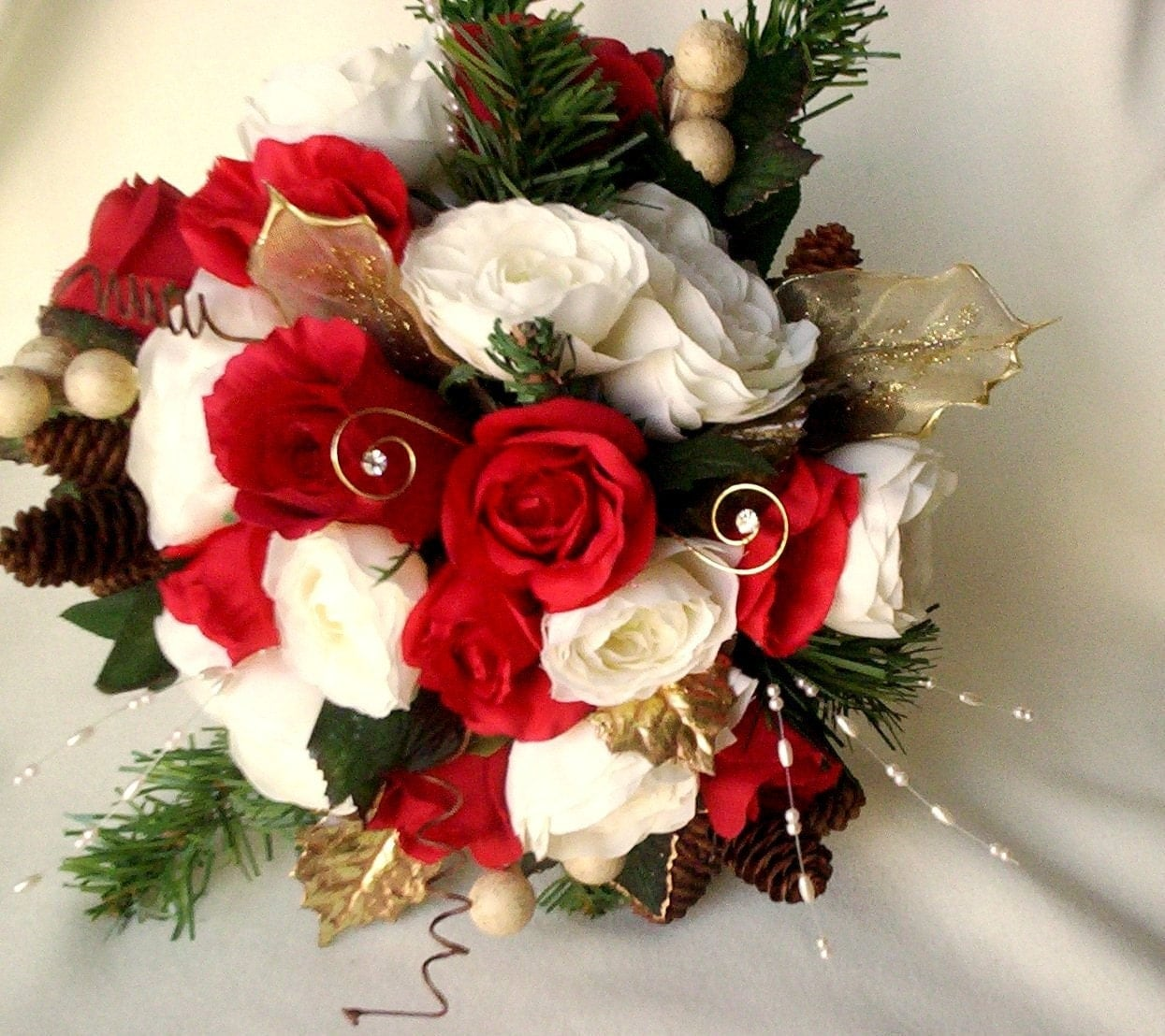 Red Wedding Flowers: Winter Bridal Bouquet Red Ivory Silk Wedding Flowers Pine