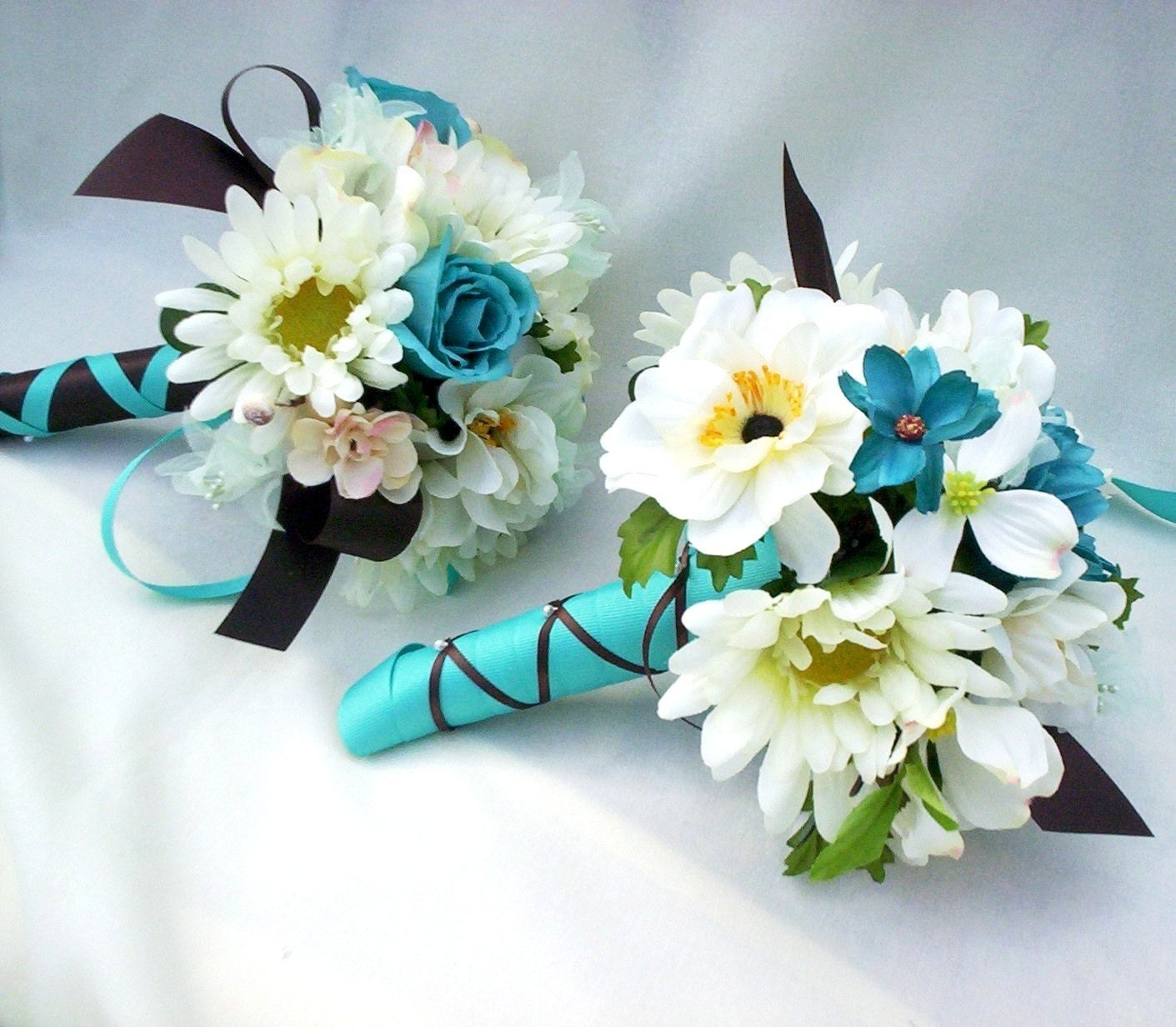 turquoise teal silk wedding flowers custom made to order. Black Bedroom Furniture Sets. Home Design Ideas