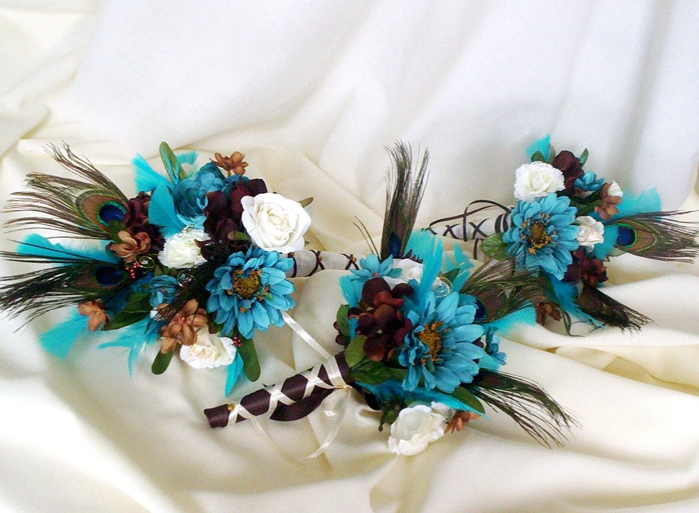 Peacock Wedding Bouquets Turquoise Brown Bridal Bouquet