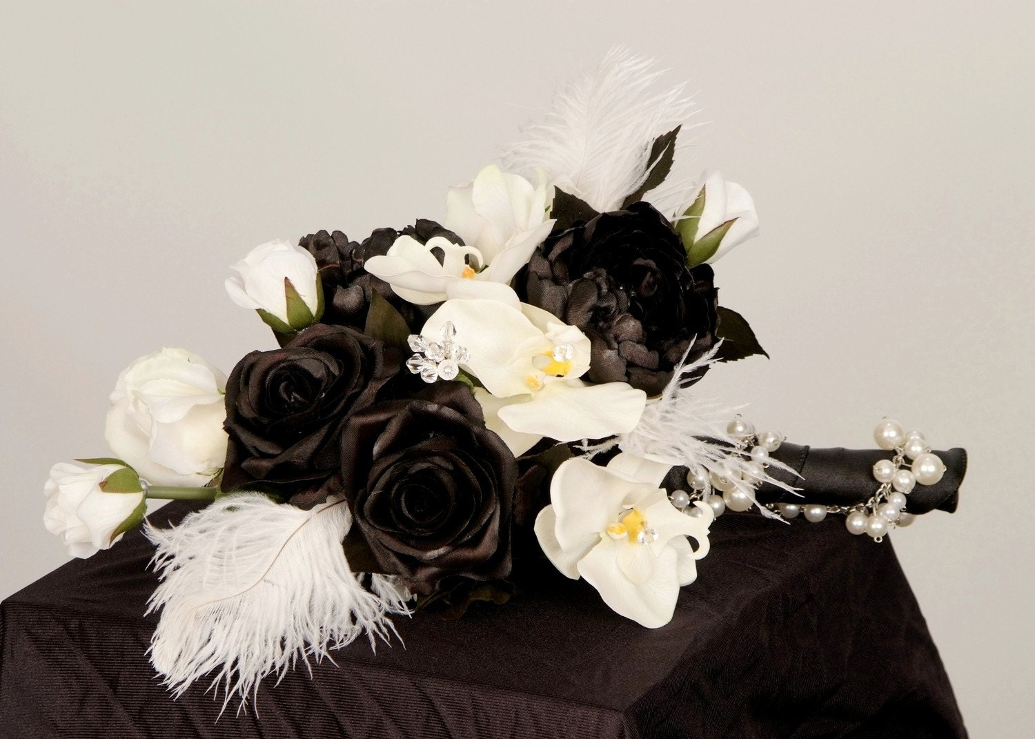 white and black wedding bouquets