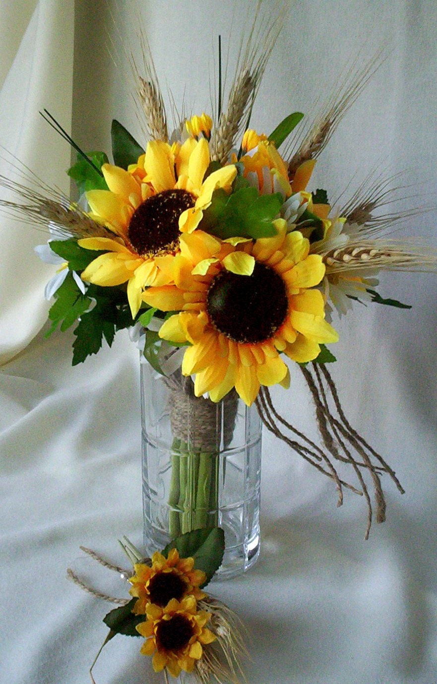 Bridesmaid Bouquets Sunflowers : Sunflower bridal bouquet country twine wrap daisies wheat