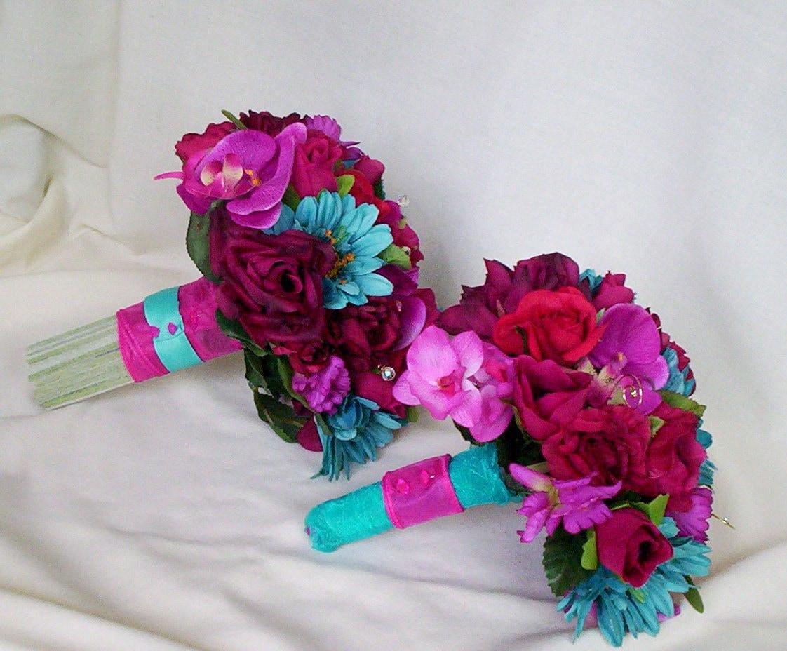 Turquoise Fuchsia Wedding: Fuschia Wedding Flower Package Malibu Turquoise Custom For