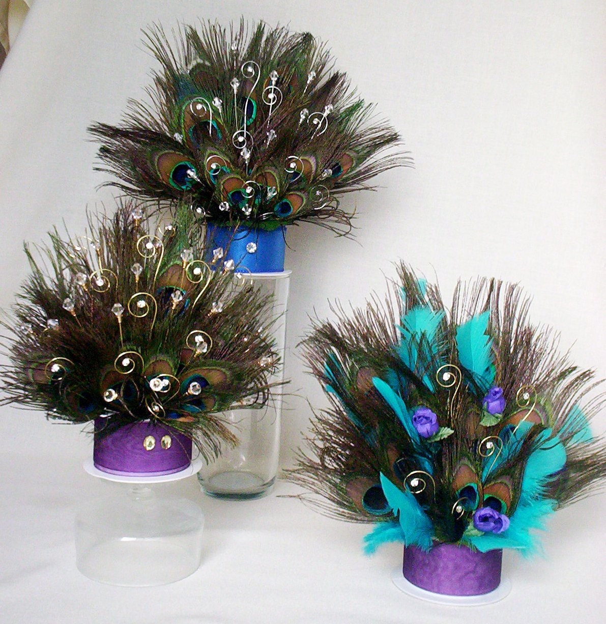 Custom Peacock Cake Top Purple Turquoise Wedding Rhinestone
