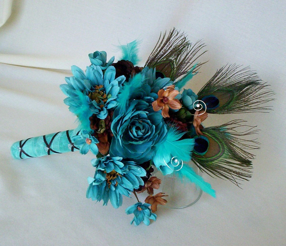 turquoise wedding flowers peacock turquoise wedding flower package brown custom for 8122