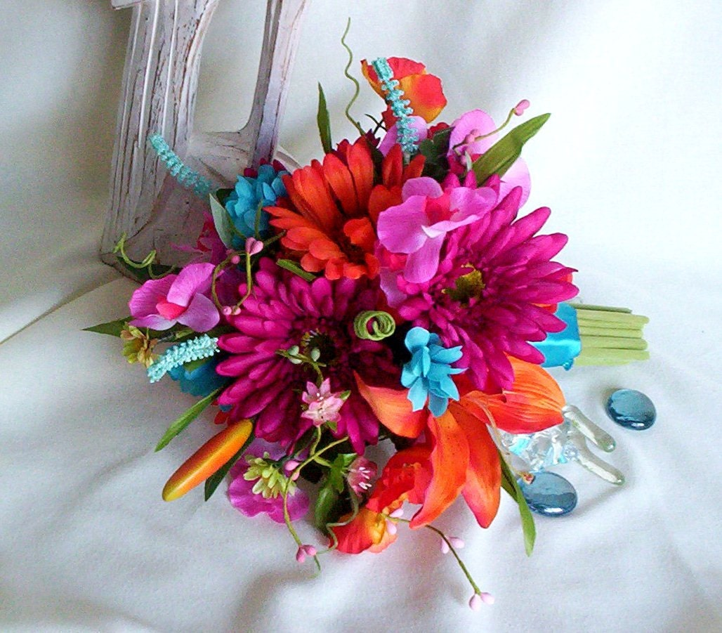 Bridal Bouquet Tropical Flowers : Malibu beach wedding bouquet tropical silk faux