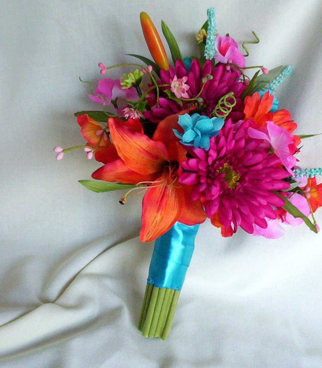 Beach Wedding Flowers: Wedding Accessories Beach Bouquet Malibu Blue Faux Flowers