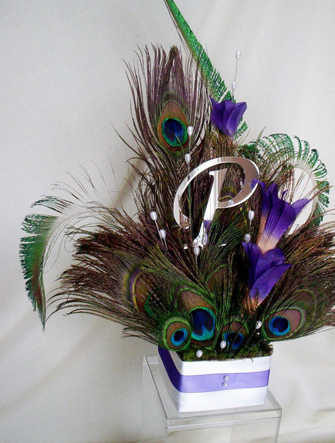 wedding accessories decoration cake topper peacock feathers