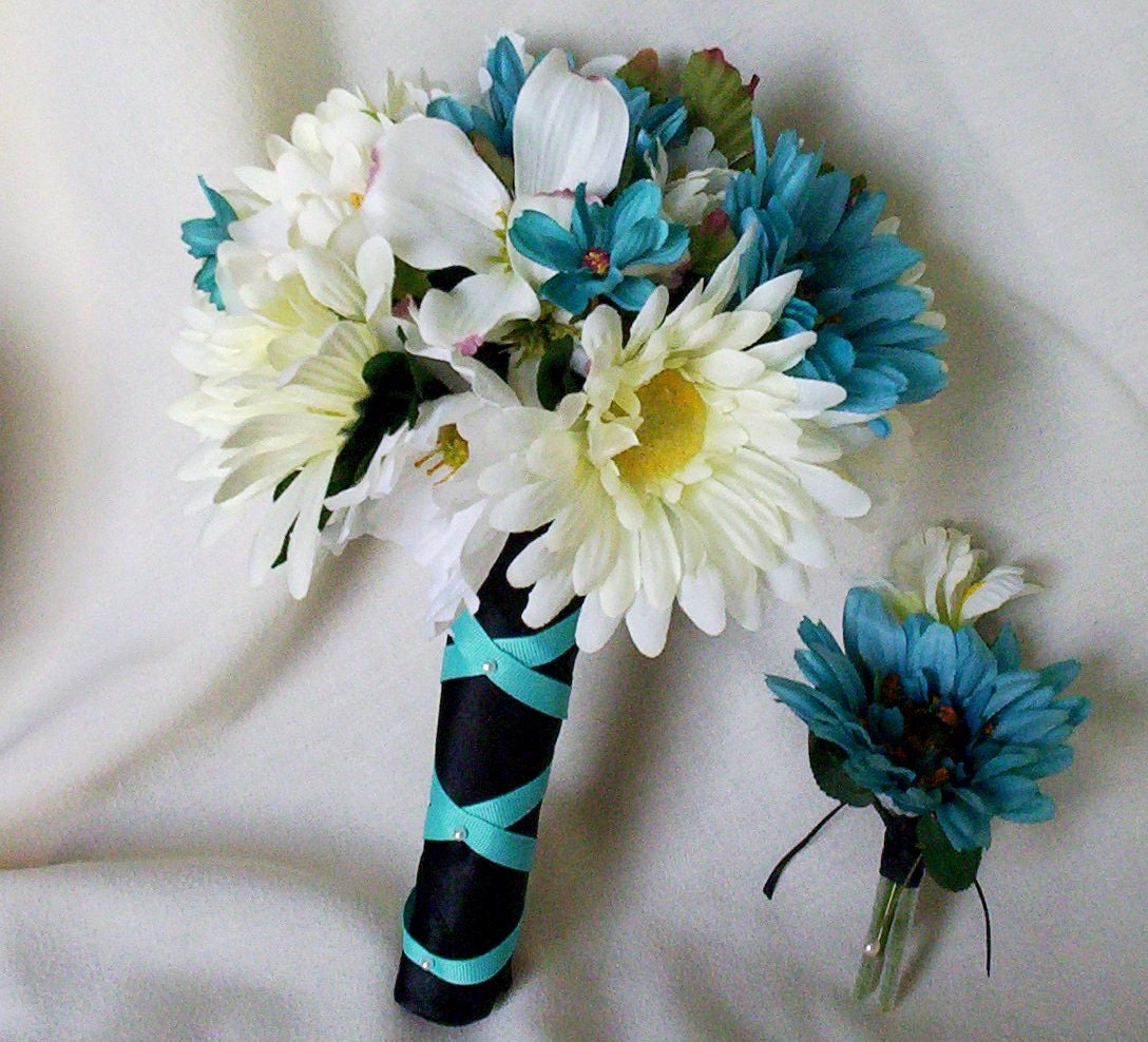 turquoise bouquet black silk wedding flowers ready to ship. Black Bedroom Furniture Sets. Home Design Ideas