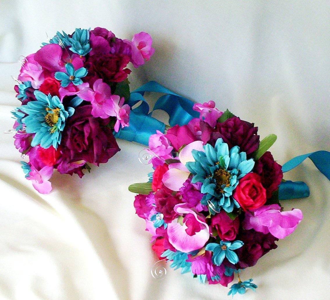 Turquoise Fuchsia Wedding: Silk Wedding Flower Bouquet Package Malibu Fuschia Turquoise