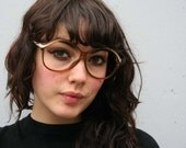 70s GLASSES Frames / Transparent Brown with Opaque Cream Highlights