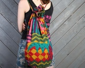 90s Ethnic BACKPACK / Oversized Slouchy Bright Cotton Bag