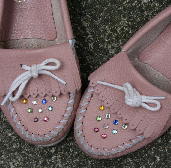BEDAZZLED Pink Rhinestone Moccasins, 7