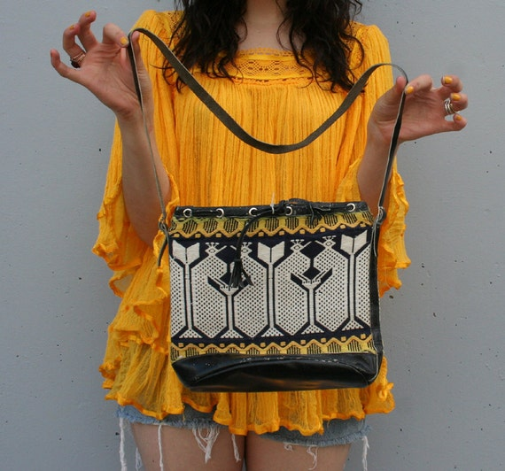 PEACOCKS Guatemalan Cotton & Leather Ethnic 60s Bag...SALE