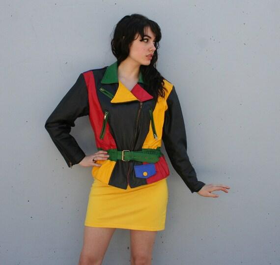 1980s BIKER JACKET / Colorblock Leather Belted Corset Jacket, m