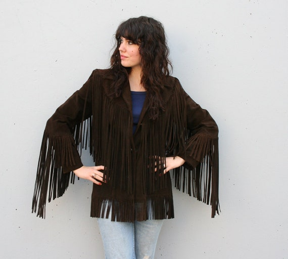 1970s LEATHER JACKET / Dark Brown Suede with Extra Long Fringe, m