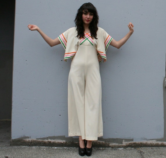 1970s JUMPSUIT / Wide Leg IVORY Playsuit with Ribbon Trim, xs-s