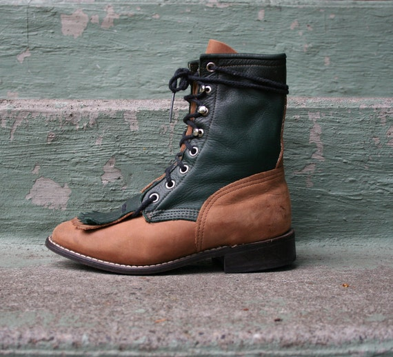 1980s ROPER BOOTS / 2-Tone Forest Green & Tan Leather, 5.5-6