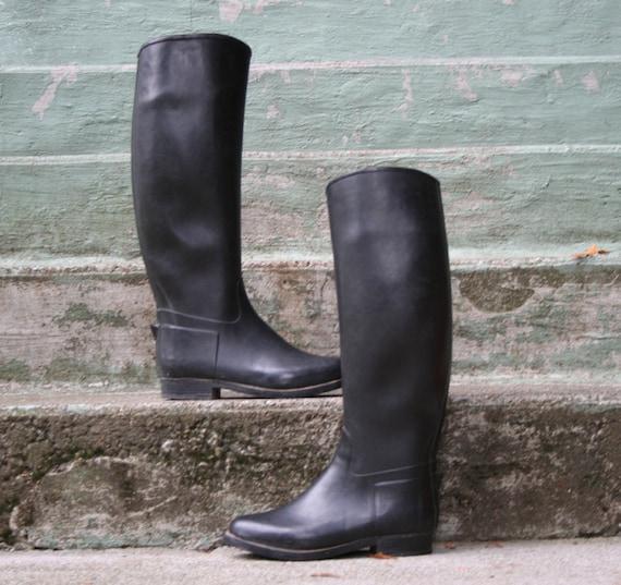 70s RAIN BOOTS / Black Rubber equestrian Riding Boots, 6