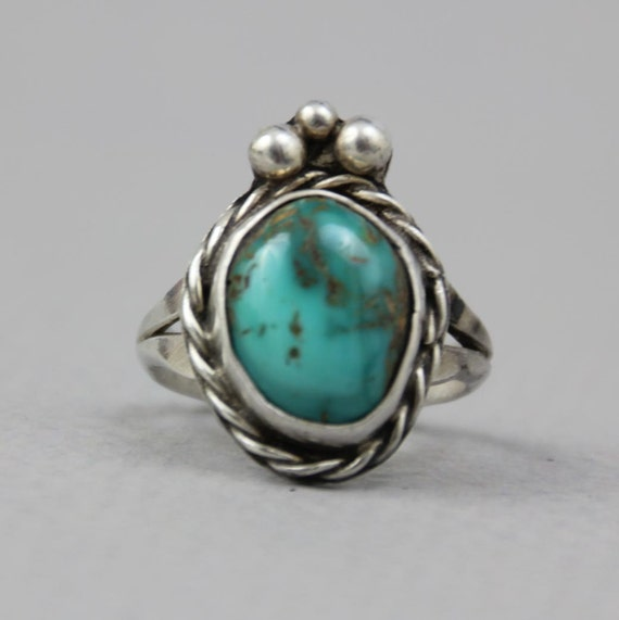 1960s STERLING RING / Boho Chunky Turquoise & Etched Silver