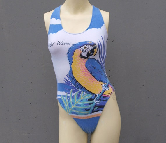 1980s SWIMSUIT / Wild Waves Novelty Parrot Print Bodysuit, xs-m