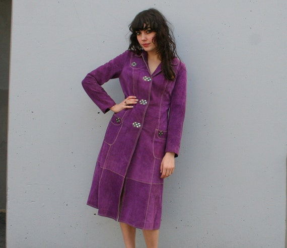 60s LEATHER JACKET / Boho Grape Purple Suede Trench, xs-s