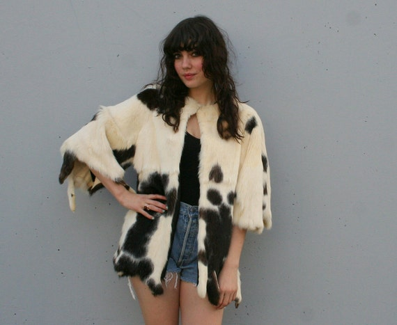 70s Fur COAT / Native Draped Spotted Rabbit Jacket, xs-l