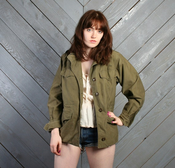 1950s Military FIELD COAT / Army Green Fatigue Jacket