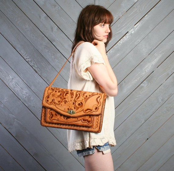 1960s LEATHER PURSE / Extra Large Tooled Floral Western Bag