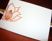 Indian Lotus Flower Place Cards - 10 Hand Stamped and Embossed