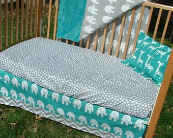 Turquoise and Gray Baby Bedding : Custom Crib Bedding Set - Elephants, Chevron, Grey, Teal, Aqua