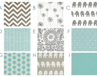Baby Bedding - Fresh Aqua and Gray Custom Crib Bedding - Chevron, Elephants, Ikat, Grey, Blue, Robins Egg