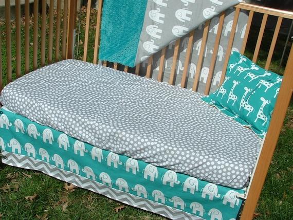 Turquoise and Gray : Elephants, Chevron - Custom Crib Bedding Set - Blanket, Skirt, Pillow - Blue, Turquoise, Teal, Grey