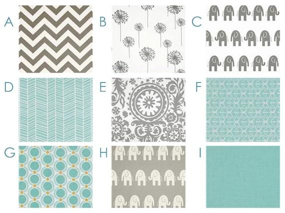 Fresh Aqua and Gray - - Chevron, Elephants, Ikat - Custom Crib Bedding Set - Blanket, Fitted Sheet, Crib Skirt - Grey, Blue, Robins Egg