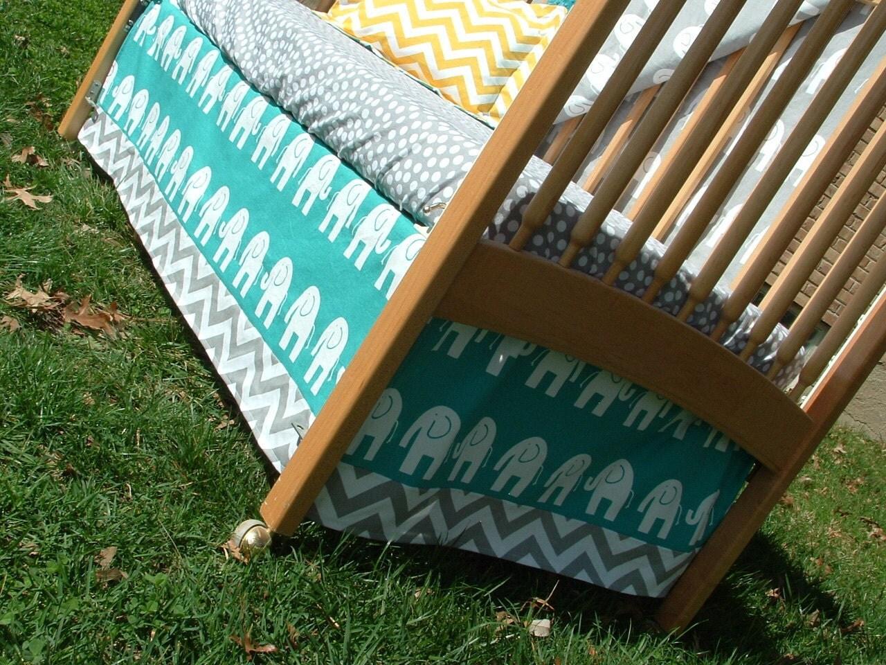 Turquoise And Gray Elephants Chevron Custom Crib Bedding