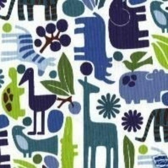 Alexander Henry 2D Zoo in Blue, 1 Yard
