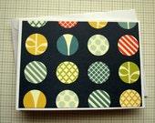 Blank Greeting Card - Navy and Multicolor Modern Polkadot Print