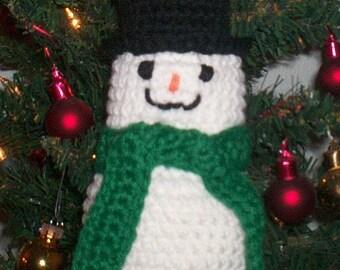 Amigurumi Crocheted Snowman Ornament or Plush Toy - Green Scarf