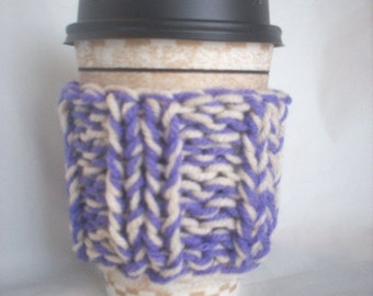 Hand Knit Coffee Cup Cozy Sleeve - Lavender and Off-White