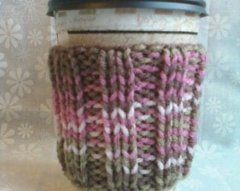 Hand Knit Coffee Cup Cozy Sleeve - Pink Camo