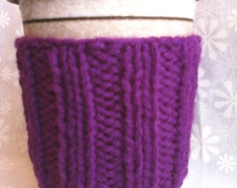 Hand Knit Coffee Cup Cozy Sleeve - Plum Purple