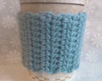 Crocheted Coffee Cup Cozy Sleeve - Slate Blue