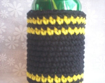 Crocheted 12 oz Can Cozy Beer Holder - Black and Yellow