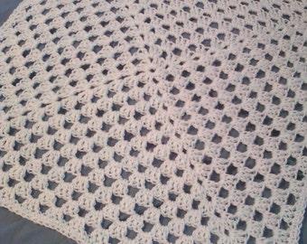 Crocheted Giant Granny Square Baby Blanket - White Fleck