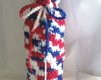 Hand Crocheted Wine Bottle Cozy Bag - Red White Blue