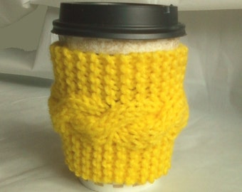 Cable Knit Coffee Cup Cozy Sleeve - Bright Yellow