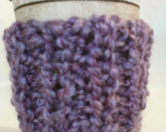 Hand Knit Ribbed Coffee Cup Cozy Sleeve - Homespun Baroque Purple